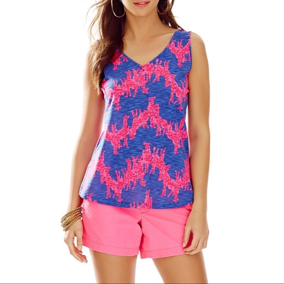 148cbcface Lilly Pulitzer Tops - Lilly Pulitzer Gigi V-Neck Giraffe Tank Top